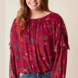 Free People | Red Floral Sheer Blouse | Sz XS